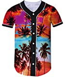 Loveternal 3D Hawaiian Islands Palm Tree Impreso Camisetas de Béisbol Softball Athletic Tee para Mujeres Hombres L