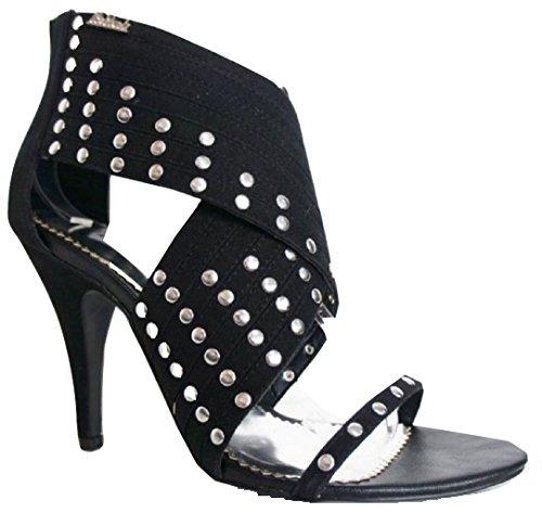 Sandali con tacco a spillo, con strass, colore: nero/argento, Nero (nero), 40