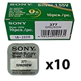 Sony 377 Watch Battery x10 Cell Batteries Button Silver-Oxide 1.55v-377 SR626SW AG-4 (BULK PACK OF 10)