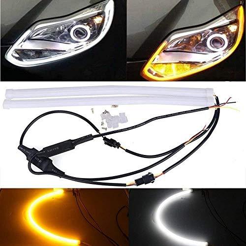 Amazenar ultra-luminoso 60cm bianco/ambra switchback drl flessibile led tubo strip style giorno di svolgimento luci strofinamento strip luce auto luce di segnalazione luce di parcheggio luce (1 set)