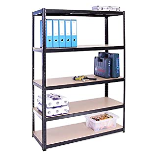 Garage Shelving Units: 180cm x 120cm x 45cm | Heavy Duty Racking Shelves for Storage - 1 Bay, Black 5 Tier (175KG Per Shelf), 875KG Capacity | For Workshop, Shed, Office | 5 Year Warranty