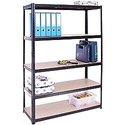 G-Rack (Noir Rangement pour Garage, 180cm x 120cm x 45cm 5 Niveaux, Capacité de 875kg (175kg par Étagère) - très résistant, Charge Lourde