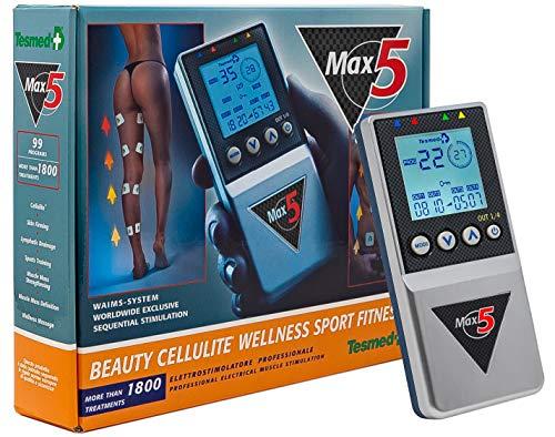 TESMED MAX 5, Electroestimulador Muscular de 4Canales y 12electrodos para Deporte, estética, Trabajar los Abdominales - Unisex–para Adulto - Color Azul y Plateado