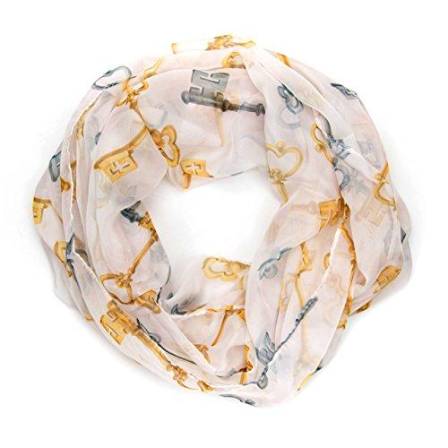 MANUMAR Loop-Schal für Damen | feines Hals-Tuch in weiß gelb mit Schlüssel Motiv als perfektes Herbst Winter Accessoire | Schlauch-Schal | Damen-Schal | Rund-Schal | Das ideale Geschenk für Frauen
