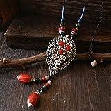 Xqcay Collana ciondolo gioielli da donna lungo maglione catena moda folk vento foglia ciondolo ornamento ceramiche, gules