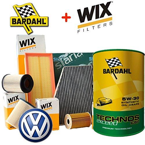 Kit tagliando olio BARDAHL TECHNOS 5W30 5LT 4 FILTRI WIX (WL7296, WF8308 OPPURE WF8355, WA6781, V3683) PER MOTORI BXE