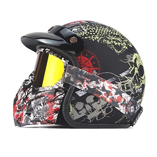 Preisvergleich Produktbild GHL Motorrad Halle Helm Retro Elektroauto 3 / 4 Halber Helm Schutzhelm Enthält Schutzbrillen, 3, M