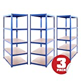Garage Shelving Units: 180cm x 90cm x 60cm   Heavy Duty Racking Shelves for Storage - 3 Bay Extra Deep, Blue 5 Tier (175KG Per Shelf), 875KG Capacity   For Workshop, Shed, Office   5 Year Warranty