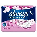 Always Sensitive Night Ultra Damenbinden mit Flügeln, 10Stück