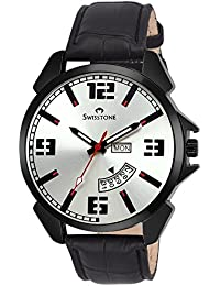 Swisstone BK95-SLV-BLK Silver Dial Black Leather Strap Day Date Wrist Watch For Men/Boys