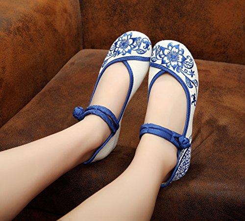 ZLL Blaues und weißes Porzellan bestickte Schuhe, Sehnensohle, ethnischer Stil, Femaleshoes, Mode, bequem White