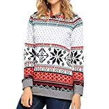 IZHH Damen Langarm T-Shirt, Christmas Printed Hoodies Sweatshirt Xmas Ladies Tops Pullover Pullover Element Festival Printed Rundhals Langarm-Kapuzenshirt Top Party Outdoor Daily Tops(Rot,Small)