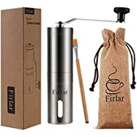 Firlar Premium Manual Coffee Grinder Stainless Steel Body Adjustable Ceramic Conical Burr Hand Crank Mill Grinds Beans Spices Brushed