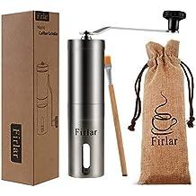 Firlar manual molinillo de café premium de cuerpo de acero inoxidable ajustable cónico Burr manivela cerámica molino muele granos especias cepillado