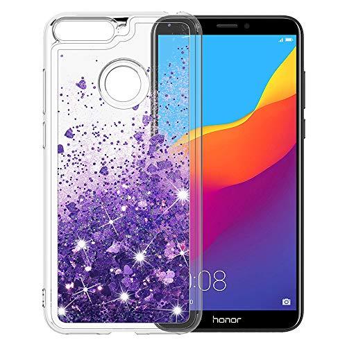 MASCHERI Hülle für Huawei Honor 7A / Y6 2018 / Enjoy 8E, Flüssig Bling Dynamisch Glitzer Kratzfest Silikon Schutzülle Schale Luxus handyschalen Shiny Cover - Lila