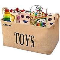 Preisvergleich für GIMARS Große Spielzeugkiste 20 Zoll Spielzeug Aufbewahrungskiste Spielzeugbox Jute faltbar Aufbewahrungsbox