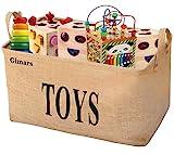 GIMARS Große Spielzeugkiste 20 Zoll Spielzeug Aufbewahrungskiste Spielzeugbox Jute faltbar