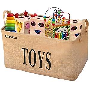 Gimars 20 zoll Große Spielzeugkiste, Spielzeug Aufbewahrungskiste, Spielzeugbox aus Jute, faltbar Aufbewahrungsbox…