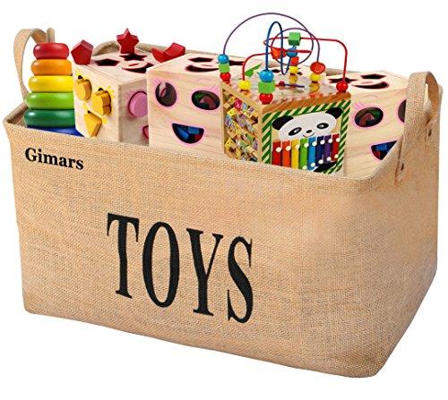 *GIMARS Große Spielzeugkiste 20 Zoll Spielzeug Aufbewahrungskiste Spielzeugbox Jute faltbar Aufbewahrungsbox*