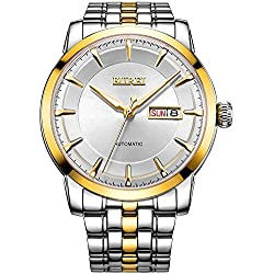 BUREI® Men's Luminous Day and Date Automatic Watch with Two Tone Link Bracelet,Gold Bezel White Dial