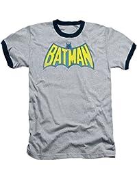 Batman Classic Retro Logo Gray With Black Ringers T-shirt Tee