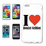"""Cas de Téléphone Sony XPERIA Z1 / L39H """"I Love Boulet Griffon"""" ... Mince et belle, qui est notre étui. Le cas est fixé avec un clic sur votre smartphone ... Dans un étui rigide Social Design Network avec Hashtag # Cas Couverture mobile de téléphone pour HTC Smart Cover Smartphone / Téléphone portable à White.... Cadeau approprié pour les amis"""