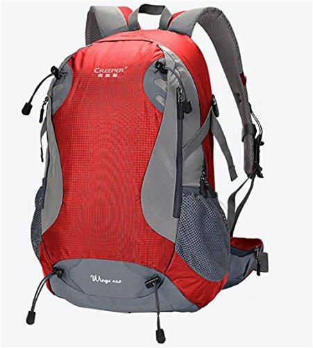 Outdoor-Rucksack Bergsteigen Taschen 45L Rucksack-Spielraum Rucksack Männer und Frauen Reitausflüge Leichtbau Rot