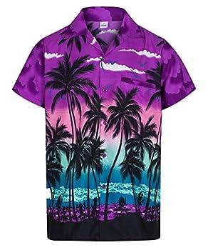201da6f0f Mens Hawaiian Shirt Short Sleeve STAG Beach Holiday Palm Tree Fancy Dress  Hawaii - All Sizes (Medium, Purple)