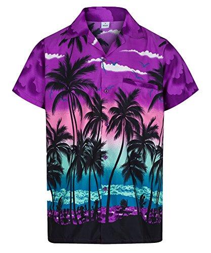 (Redstar Fancy Dress - Herren Hawaiihemd - kurzärmelig - Palmenmotiv - Verkleidung Junggesellenabschied - alle Größen - Lila - M)