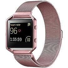 Para Fitbit Blaze ,Transer® Milanesa de acero inoxidable magnetico Watch Band + marco de metal para Fitbit Blaze (Oro rosa 1)