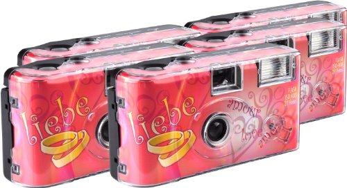 TopShot Love Hearts Einwegkamera / Hochzeitskamera (27 Fotos, Blitz, 5-er Pack)