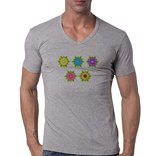 Flowers Nature Blossom Plant Five Blossom Herren V-Neck T-Shirt Grau
