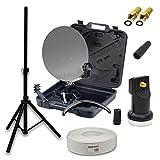 Camping SAT Koffer Schüssel inkl. PremiumX Digital Single LNB 0,1dB + 10m Kabel mit F-Stecker und Gummitülle + Dreibein Stativ Stahl 32mm 120cm Höhe Schwarz