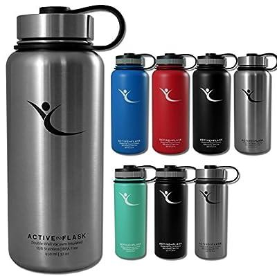 Trinkflasche ACTIVE FLASK von BeMaxx Fitness + 3 Trinkverschlüsse – Vakuum-isolierte Edelstahl Thermosflasche | BPA frei - 1l & 0,5l | Wasserflasche für Büro, Sport, Fahrrad, Outdoor – Kaffee & Tee