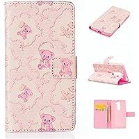 TKSHOP Accessories Case Cover per LG Magna H502F H500F C90 H520N Custodia PU pelle Funzione di Sostegno Stand con la Copertura del Raccoglitore per la Carte Chiusura Magnetica+ Penne Capacitive Stylus penna Rose per dispositivi touchscreen - Giocattolo orso rosa