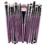 Koly Pro 15 pcs Make Up Sets Soft Eye Shadow Foundation Eyebrow Lip Makeup Brushes (Purple )