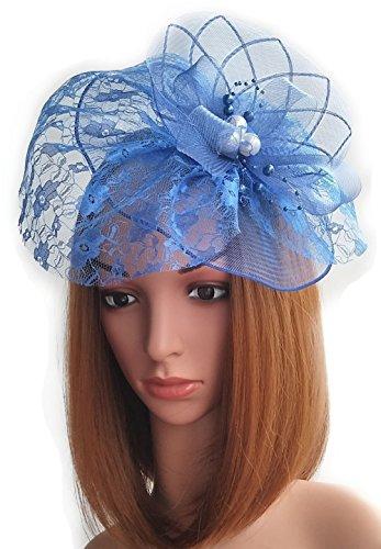 Womens Fascinator Hut Haarclip Perlen Schleier für Cocktail Headwear Party Kopfschmuck (Red Kostüm Lady Hat)