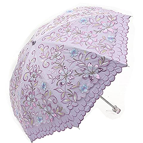 Royllent Sun Umbrella lovely Cute Lace Cloth with Embroidery Flower inside Black Anti-UV Layer Two Folding Brilliant Design UV Protected Parasol for Ladies UPF50 (purple)
