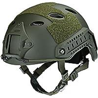 Ajustable Casco Táctico Militar Cabeza Pantalla Protector de cabeza tocados con correa de barbilla para Paintball CS juegos Ciclismo, Army Green