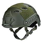 Helm mit verstellbarer leichter taktischer Helm-Kopf-Schutz für Airsoft Paintball Kunststoff auf See Verstellbarer Helm mit 20mm auf Schiene mit Klettverschluss gepolstert mit NVG, von Bungee Goggle Clip, army