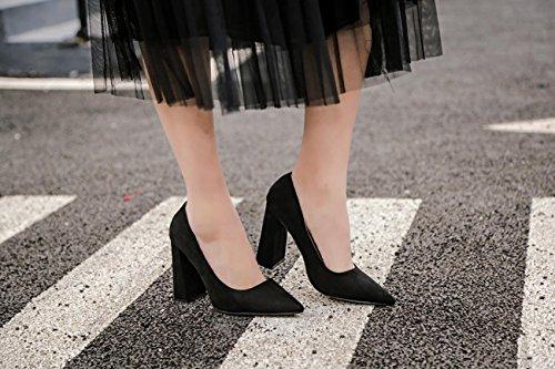 LvYuan-mxx Talons Femmes / Printemps Été / Confort suède / Casual / Bas chunky Talon / pointu pointe / sandales BLACK-35