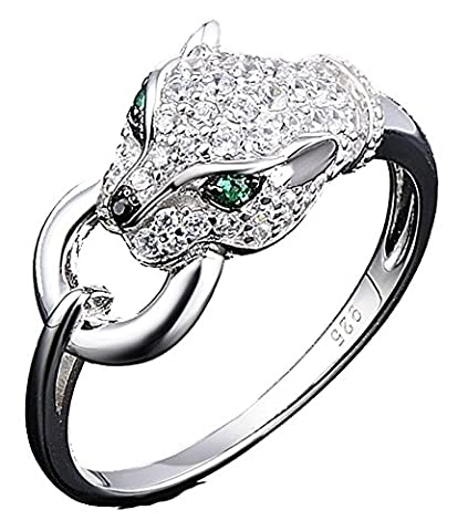 SaySure - Silver Rings Panther Gem Stone Spinel CZ Diamond (SIZE : 6)