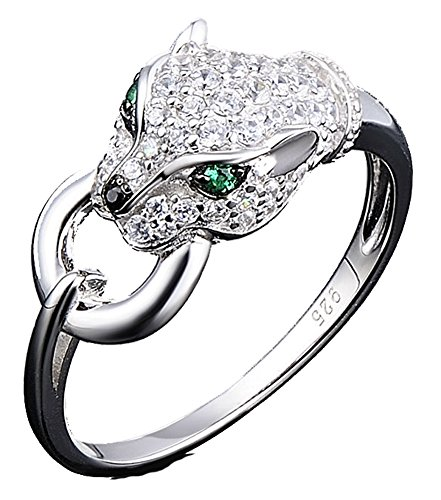 SaySure - Silver Rings Panther Gem Stone Spinel CZ Diamond (SIZE : 9)
