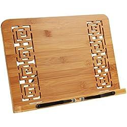 REAYOU Atril Soporte para Libros de Cocina Atril para Libros de bambú para iPad o Libro de Recetas, para partituras o Libros, Ideal para el despacho o la Cocina, Regulable en 5 Posiciones