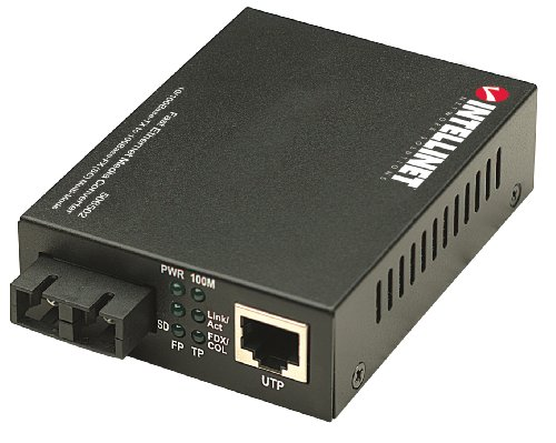 Intellinet  Fast Ethernet Medienkonverter 10/100Base TX auf 100Base-FX (SC) Multimode 2 km 506502 schwarz (Mm-medien-konverter)