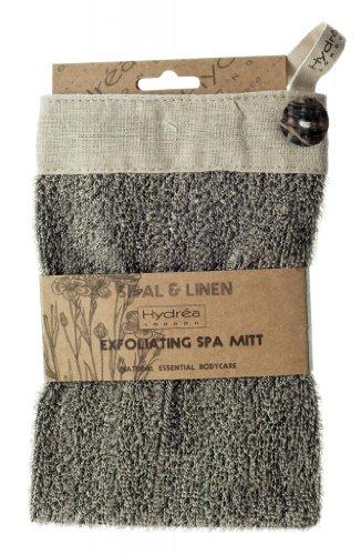 Luxus Peeling Sisal und Leinen Spa Handschuh mit Muschel Knopf -