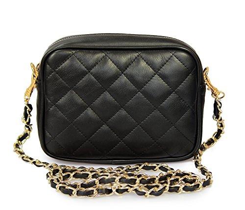 IO.IO.MIO Damen Nappa Leder Handtasche Clutch Schultertasche Umhängetasche gesteppt Damentasche Kettentasche Abendtasche kleine Frauen Handtaschen Crossover Tasche schwarz, 19x14x6,5 cm (B x H x T) -
