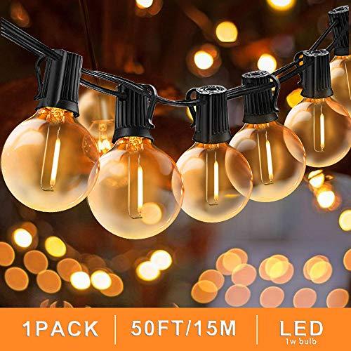 Svater G40 Lichterkette Gluehbirne Aussen, 50FT/15M Globe Schnur Lichter, 50 Hängende Led Glühbirne Aussen Globus Glühlampen, Nicht Dimmbare Innen Außen Lichterkette Birnen für Garten -
