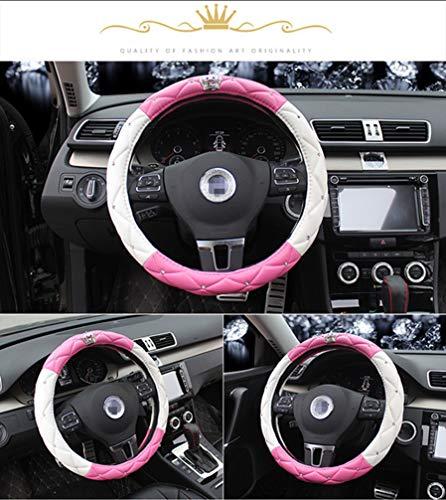 Pelle copertura del volante dell'automobile con sterzo Corona auto copricerchi, naturale lattice atossico e inodore Guida Sicura, Universal 15 pollici per l'automobile del camion SUV,Pink+white,36cm