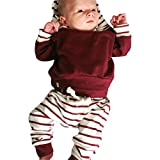Kinderbekleidung Kinder Set Winter Btruely Unisex Kinderbekleidung 2pcs Langarm Tops Baby Clothes Set Hoodie Pullover + Hosen Outfits Kleinkind Säugling Baby Set (70, Rot)